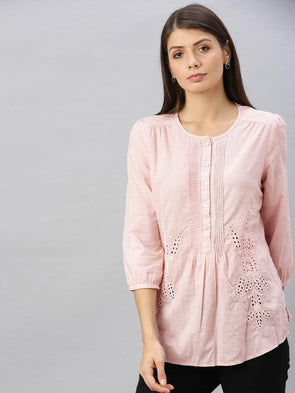 Cottonworld Women's Tops Women's Cotton Rose Regular Fit Blouse