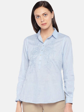 Women's Cotton Sky Blue Regular Fit Blouse Cottonworld Women's Tops