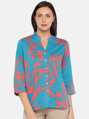 Women's Cotton Viscose Turquoise A Line Blouse Cottonworld Women's Tops