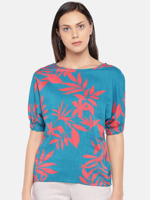 Cottonworld Women's Tops Women's Cotton Viscose Turquoise Regular Fit Blouse