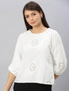Women's Cotton White Regular Fit Blouse Cottonworld Women's Tops