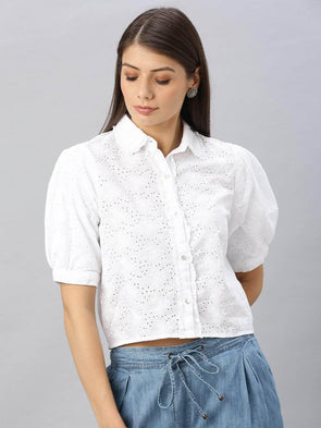 Cottonworld Women's Tops Women's Cotton White Regular Fit Blouse
