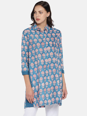 Women's Cotton Woven Blue Regular Fit Blouse Cottonworld Women's Tops