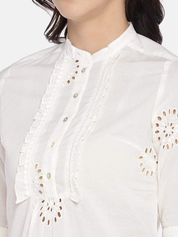 Women's Cotton Woven White Regular Fit Blouse Cottonworld Women's Tops