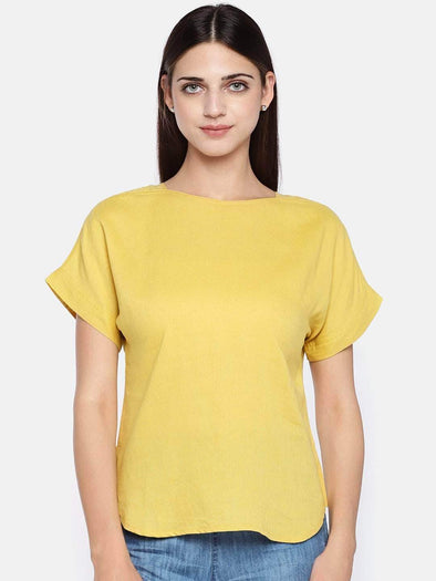Women's Excel Linen Mustard Regular Fit Blouse Cottonworld Women's Tops