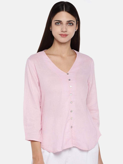 Cottonworld Women's Tops Women's Excel Linen Rose Regular Fit Blouse