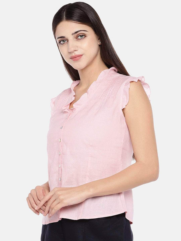 Women's Excel Linen Rose Regular Fit Blouse Cottonworld Women's Tops