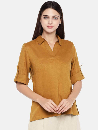 Women's Excel Linen Rust Regular Fit Blouse Cottonworld Women's Tops