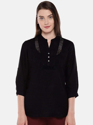 Women's Linen Black Blouse Cottonworld Women's Tops