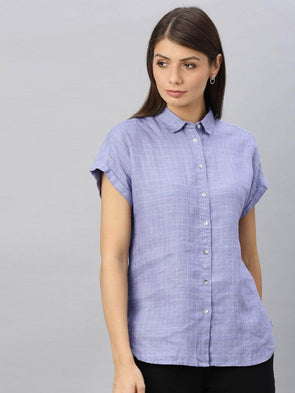 Cottonworld Women's Tops Women's Linen Blue Regular Fit Blouse