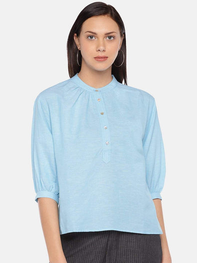 Women's Linen Cotton Blue Regular Fit Blouse Cottonworld Women's Tops