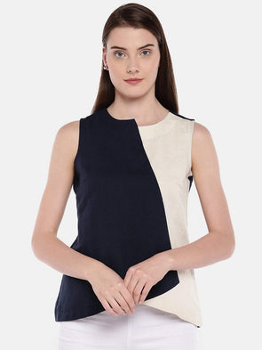 Women's Linen Cotton Navy Regular Fit Blouse Cottonworld Women's Tops