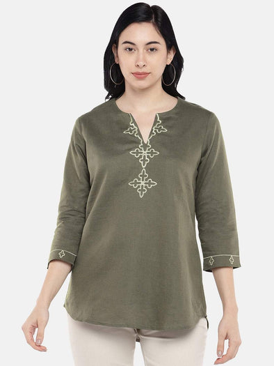 Cottonworld Women's Tops Women's Linen Cotton Olive Regular Fit Blouse