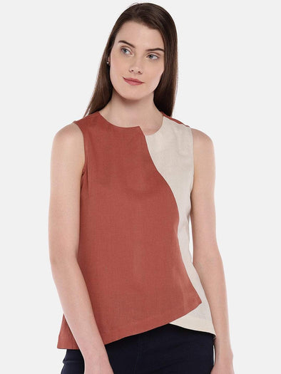 Cottonworld Women's Tops Women's Linen Cotton Rust Regular Fit Blouse