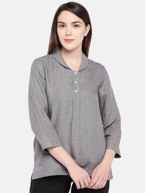 Cottonworld Women's Tops Women's Linen Grey Regular Fit Blouse