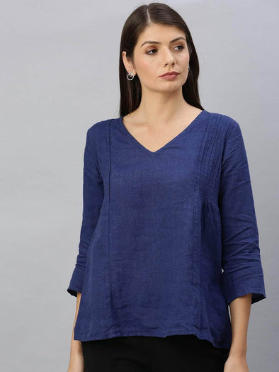 Cottonworld Women's Tops Women's Linen Indigo Regular Fit Blouse