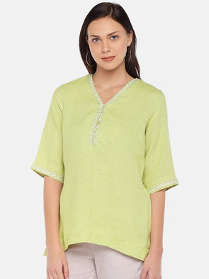 Women's Linen Lime Regular Fit Blouse Cottonworld Women's Tops