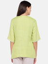 Cottonworld Women's Tops Women's Linen Lime Regular Fit Blouse