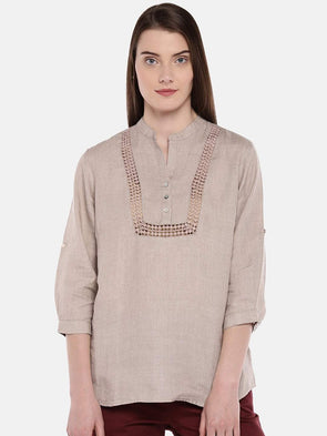 Cottonworld Women's Tops Women's Linen Natural Blouse