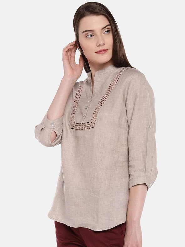 Women's Linen Natural Blouse Cottonworld Women's Tops