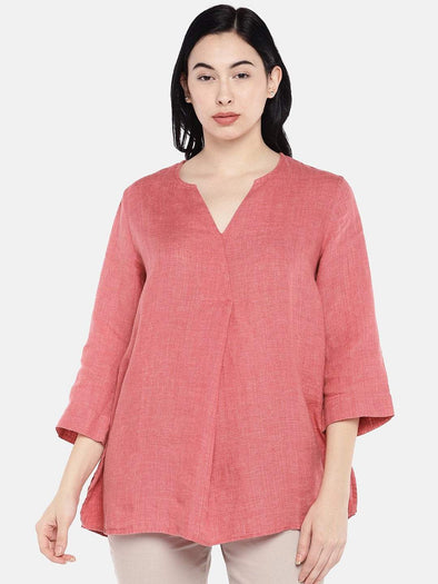 Cottonworld Women's Tops Women's Linen Red A Line Blouse