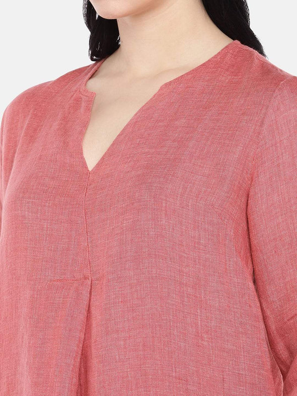 Women's Linen Red A Line Blouse Cottonworld Women's Tops