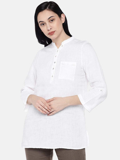 Women's Linen White Regular Fit Blouse Cottonworld Women's Tops