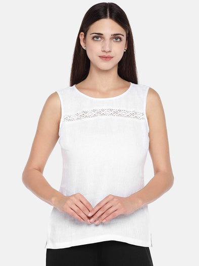 Cottonworld Women's Tops Women's Linen White Regular Fit Blouse