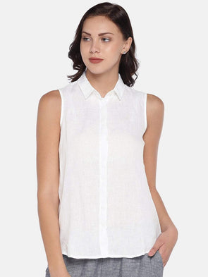 Women's Linen Woven White Regular Fit Blouse Cottonworld Women's Tops