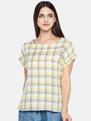 Cottonworld Women's Tops Women's Linen Yellow Regular Fit Blouse