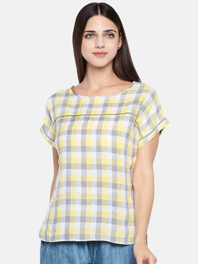 Women's Linen Yellow Regular Fit Blouse Cottonworld Women's Tops