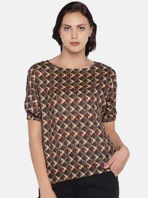 Women's Modal Woven Maroon Regular Fit Blouse Cottonworld Women's Tops