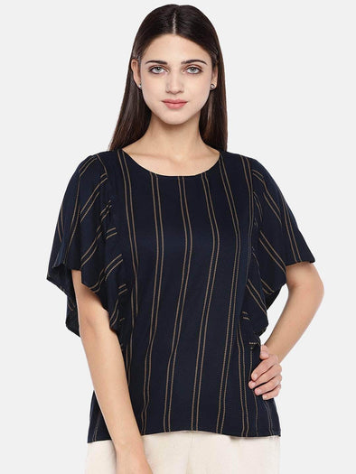Women's Rayon Navy A Line Blouse Cottonworld Women's Tops