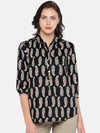 Women's Rayon Woven Black Regular Fit Blouse Cottonworld Women's Tops