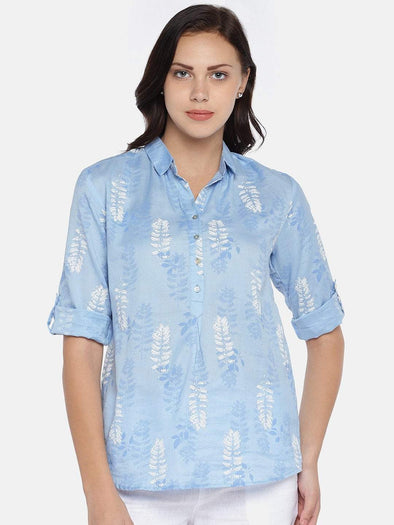 Women's Rayon Woven Blue Regular Fit Blouse Cottonworld Women's Tops