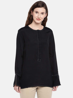 Women's Viscose Black Regular Fit Blouse Cottonworld Women's Tops