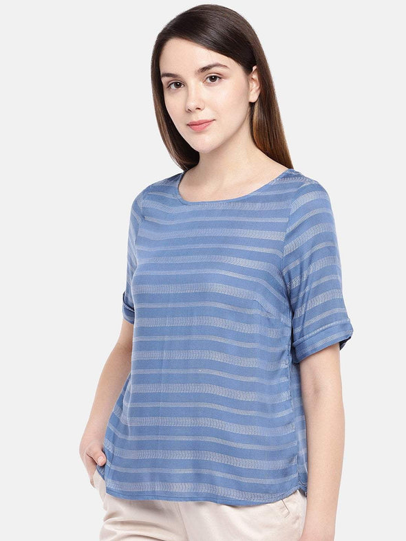 Cottonworld Women's Tops Women's Viscose Blue Regular Fit Blouse