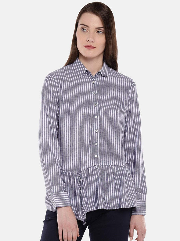 Women's Viscose Linen Blue Regular Fit Blouse Cottonworld Women's Tops