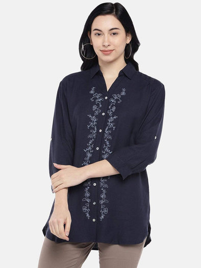 Cottonworld Women's Tops Women's Viscose Linen Navy Regular Fit Blouse