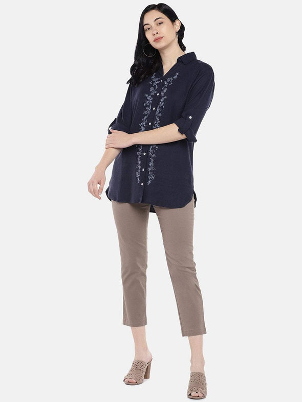 Women's Viscose Linen Navy Regular Fit Blouse Cottonworld Women's Tops