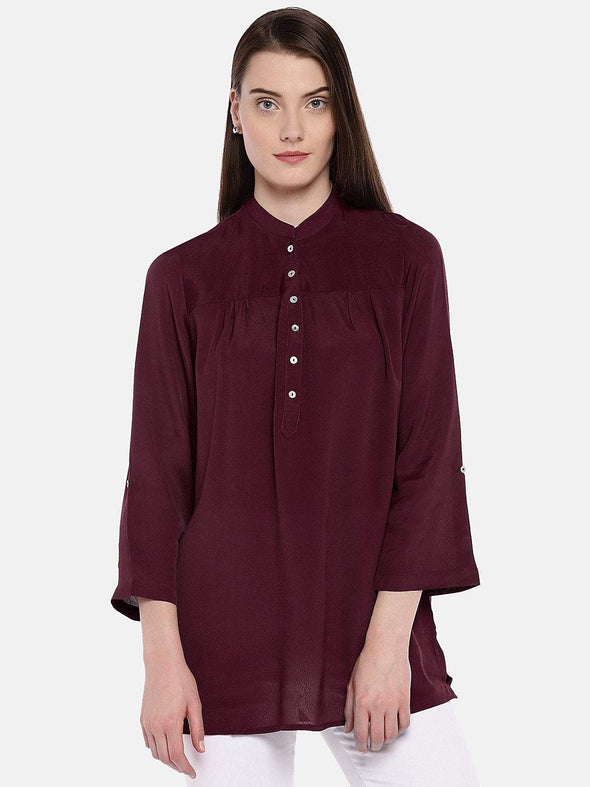 Women's Viscose Maroon Blouse Cottonworld Women's Tops