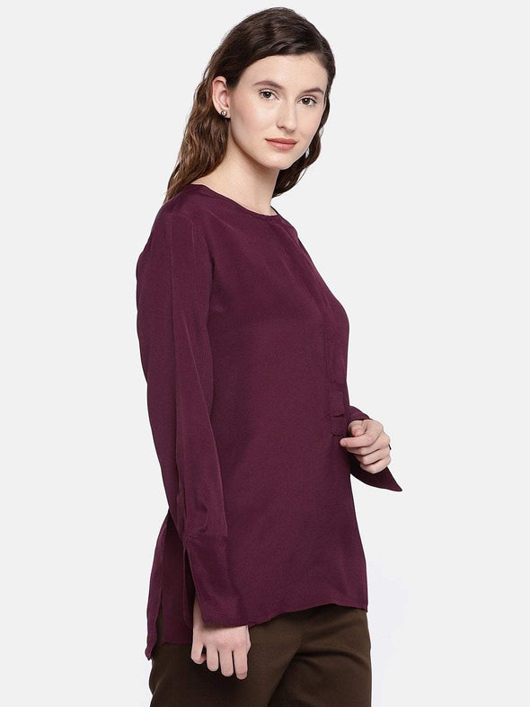 Women's Viscose Maroon Regular Fit Blouse Cottonworld Women's Tops