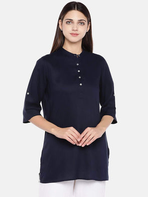 Women's Viscose Navy Regular Fit Blouse Cottonworld Women's Tops