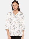 Cottonworld Women's Tops Women's Viscose Offwhite Regular Fit Blouse