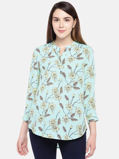 Cottonworld Women's Tops Women's Viscose Sky Regular Fit Blouse