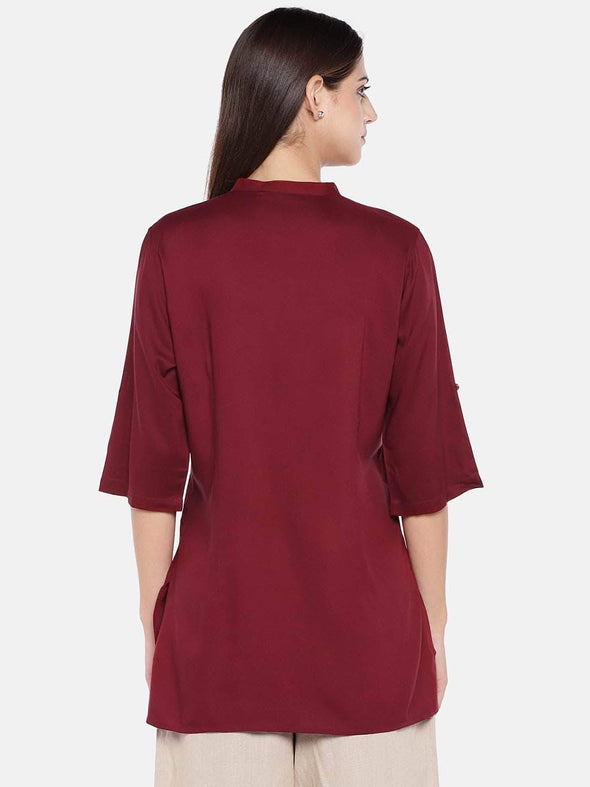 Women's Viscose Wine Regular Fit Blouse Cottonworld Women's Tops