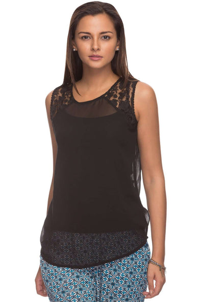 Cottonworld Women's Tops Women Sheer Black Blouse