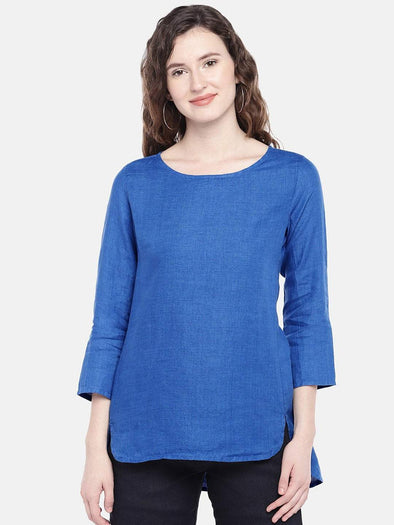 Cottonworld Women's Tops XSMALL / BLUE Women's 100% Linen Woven Blue Regular Fit Blouse