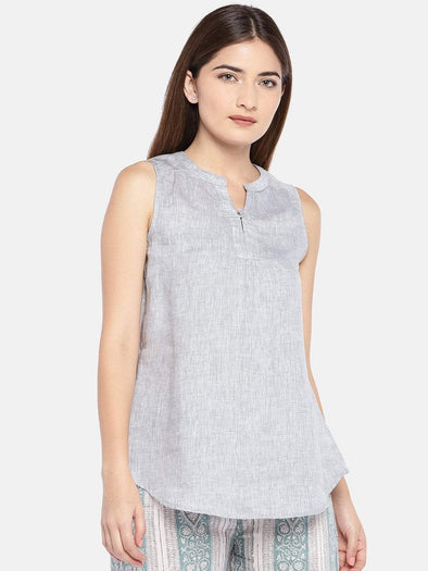 Cottonworld Women's Tops XSMALL / GREY Women's Linen Woven Grey Regular Fit Blouse