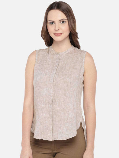 Cottonworld Women's Tops XSMALL / KHAKI Women's 100% Linen Woven Khaki Regular Fit Blouse